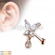 CZ Butterfly with tear Drop Dangle 316L Surgical Steel Cartilage, Tragus Barbell Studs