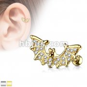 CZ Paved Bat Wings Top 316L Surgical Steel Ear Cartilage/Tragus Barbell Stud Rings