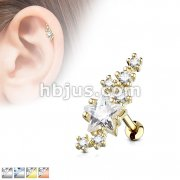 Lined Cluster CZ Star with Large Star Center 316L Surgical Steel Cartilage, Tragus Barbell Studs