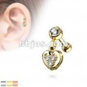 Clear Gem Set Ball with CZ Filled Heart Dangle 316L Surgical Steel Cartilage, Tragus Barbell Studs