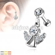 CZ Paved Ange Dangle Jeweled Set Ball 316L Surgical Steel Ear Cartilage/Tragus Barbell Studs