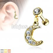 CZ Paved Crescent Dangle Jeweled Set Ball 316L Surgical Steel Ear Cartilage/Tragus Barbell Studs
