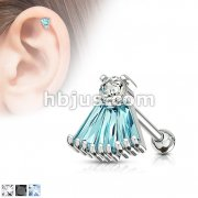 Round and Princess Cut CZ Fan Top 316L Surgical Steel Cartilage, Tragus Barbell Studs