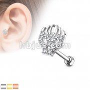 CZ Paved Flaming Skull Top 316L Surgical Steel Cartilage, Tragus Barbell Studs