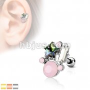 AB Crystal Star and Opalite stones Cluster Top 316L Surgical Steel Cartilage Barbell Studs