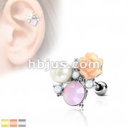 Flower, Opalite Stones and Pearl Cluster Top 316L Surgical Steel Ear Cartilage Barbell Studs