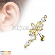 Hollow Flower Centered CZ Vine 316L Surgical Steel Cartilage, Tragus Barbell Studs