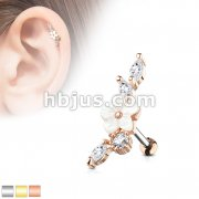 Mother of Pearl Flower Centered CZ Vine 316L Surgical Steel Cartilage, Tragus Barbell Studs