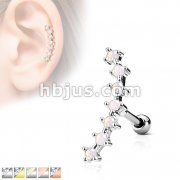 Lined CZ Curve Top 316L Surgical Steel Ear Cartilage Barbell Studs