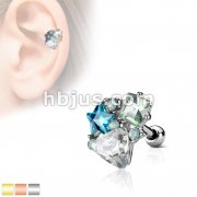 Multi Shape Crystal Stones Cluster Top 316L Surgical Steel Cartilage Barbell Studs