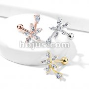 Round and Marquise CZ Flower with Pear CZ Stem Top 316L Surgical Steel Cartilage, Tragus Barbell Studs