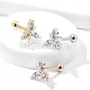 3 Marquise CZ Double Triangle Flower Top 316L Surgical Steel Cartilage, Tragus Barbell Studs