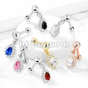 Pear CZ with Round CZ Surrounding Dangle Jeweled Set Ball 316L Surgical Steel Cartilage, Tragus Barbell Studs