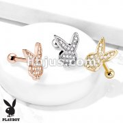Micro CZ Paved Playboy Bunny Top 316L Surgical Steel Barbell Studs for Ear Cartilage, Tragus and More