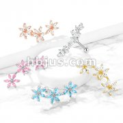 3 Marquise CZ Flowers 316L Surgical Steel Cartilage, Tragus Barbell Studs