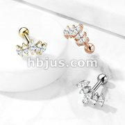 Graduated Prong Set Marquise CZ 316L Surgical Steel Cartilage, Tragus Barbell Studs