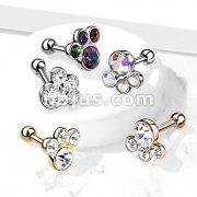 4 Round Gem Set Top 316L Surgical Steel Cartilage Barbell Studs
