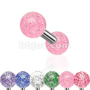 316L Surgical Steel Tragus/Cartilage Barbell with Ultra Glitter Acrylic Ball 120pc Pack (20pc x 6 colors)