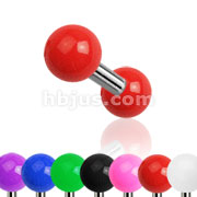 316L Surgical Steel Tragus/Cartilage Barbell with Solid Colored Acrylic Ball 140 pc Pack( 20pcs x 7 colors)