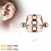 Hollow Hearts Cartilage/Helix Cuf Barbell 316L Surgical Steel