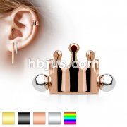 Crown 316L Surgical Steel Ear Cartilage/Helix Cuff Barbell