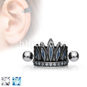 Tribal Chief's Headdress Helix Cuff Antique Silver Plated 316L Surgical Steel Cartilage Barbell