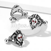 Medusa with Red Crystal Eyes Ear Cartilage/Helix Cuff 316L Surgical Steel Barbells