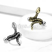 Coiled Snake Helix Cuff with 316L Surgical Steel Barbell