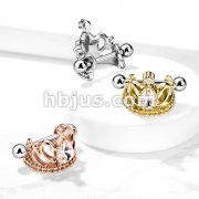Tear Drop Crystal Tiara Helix Cuff with 316L Surgical Steel Barbell