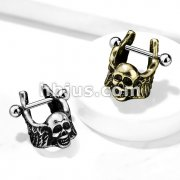 Skull with Winged Sides Helix Cuff with 316L Surgical Steel Barbell