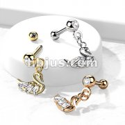CZ Pressed Ball with CZ Swan Dangle 316L Surgical Steel Cartilage, Tragus Barbell Studs