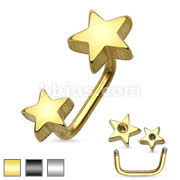 Double Stars IP 316L Surgical Steel Lippy Loop/Eyebrow Ring
