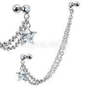 CZ Star with Gemmed Cartilage/Tragus Barbell Double Chain Linked Dangle 316L Surgical Steel