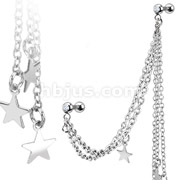 Stars with Gemmed Cartilage/Tragus Barbell Multi Chain Linked Dangle 316L Surgical Steel