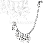 Stars and CZs Chain Linked Dangle Triple Star with Gemmed Double Cartilage/Tragus Barbell 316L Surgical Steel