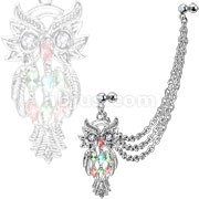 Marquise Gemmed Owl with Gemmed Double Cartilage/Tragus Barbell Multi Chain Linked Dangle 316L Surgical Steel