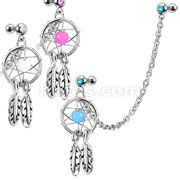 Dream Catcher with Gemmed Double Cartilage/Tragus Barbell  Chain Linked Dangle 316L Surgical Steel