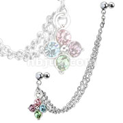 316L Surgical Steel Double Chain Linked Multi Gemmed Flower Dangle with Gemmed Double Cartilage/Tragus Barbell