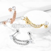Double Chain Linked Prong Set CZ Cartilage Barbells 316L Surgical Steel