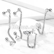 Flat Top Barbell and Chain Linked Crystal Set Barbell 316L Surgical Steel