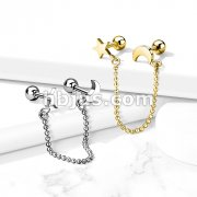 Star and Bead Chain Linked Crescent Moon Cartilage Barbells 316L Surgical Steel