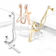 Double Chain Linked Crystal Set Cartilage Barbells with Cross Dangle 316L Surgical Steel