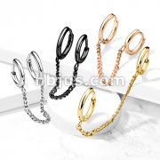 Chain Linked Round Clicker Ear Hoops All 316L Surgical Steel