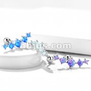 Five Opal Set 316L Surgical Steel Tragus/Cartilage Barbell