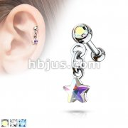 Crystal Set Ball with Crystal Star Dangle 316L Surgical Steel Cartilage, Tragus Barbell Studs