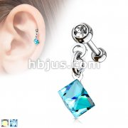 Square Crystal Dangle on 316L Surgical Steel Press Fit Jeweled Ball Cartilage Barbell Studs