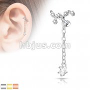 CZ Vine with Long Chain Dangled CZ Star 316L Surgical Steel Cartilage, Tragus Barbell Studs
