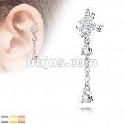 CZ Cluster Leaf with Long Chain Dangled Pear CZ 316L Surgical Steel Cartilage, Tragus Barbell Studs