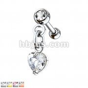 Crystal Set Ball with Prong Set Heart CZ Dangle 316L Surgical Steel Cartilage, Tragus Barbell Studs