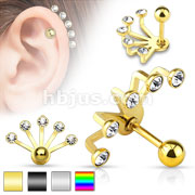 Five Fan Handle with Gem 316L Surgical Stainless Cartilage/Tragus Barbell